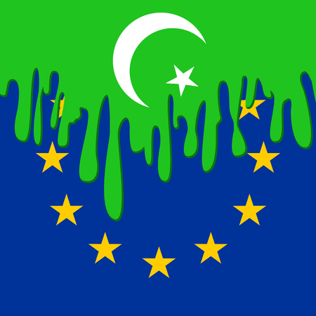 emigration: concept of emigration Islamists to Europe with symbols of Islam and European Union