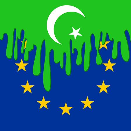 emigranti: concetto di emigrazione islamisti in Europa con i simboli dell'Islam e l'Unione Europea Vettoriali