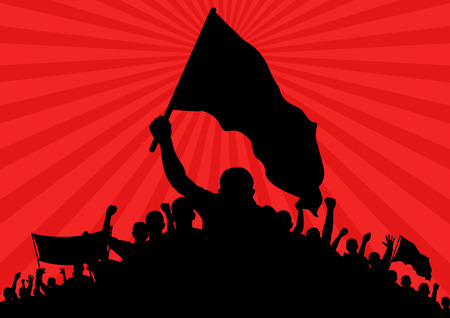 background with silhouette of protesters with flags and banner Vectores