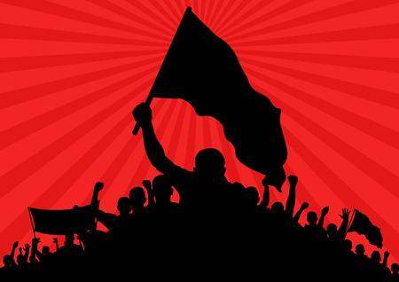 silueta humana: fondo con la silueta de manifestantes con banderas y la bandera