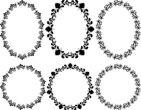ovalo: Conjunto de bastidores florales - elementos de diseño Vectores