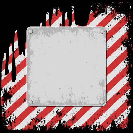 barrier tape: hazard background with grunge plaque Illustration