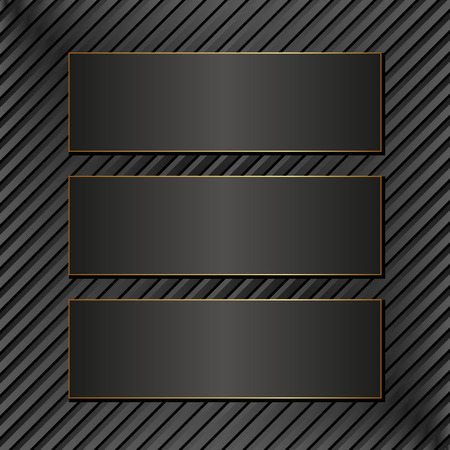 black textured background: three black banners on textured background Illustration