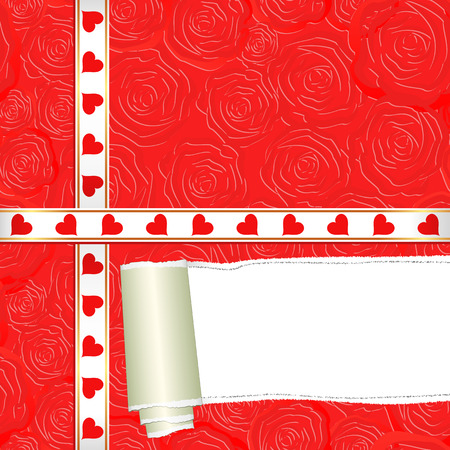 red happiness: Valentine background with torn paper