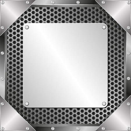 grillage: metal background with steel plaque