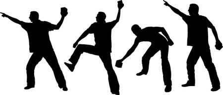 demonstrate: silhouette of man throwing objects