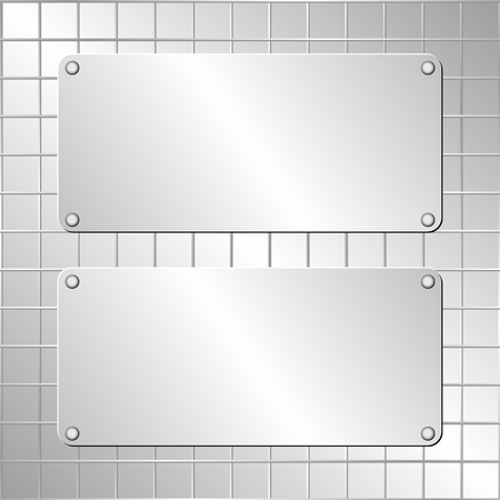 metallic background: metallic background and two plaques
