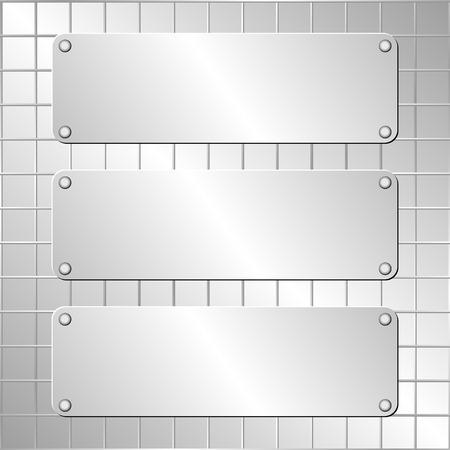 metallic: metallic background and three plaques
