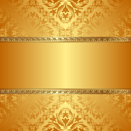 gold ornament: antique background with golden ornaments Illustration
