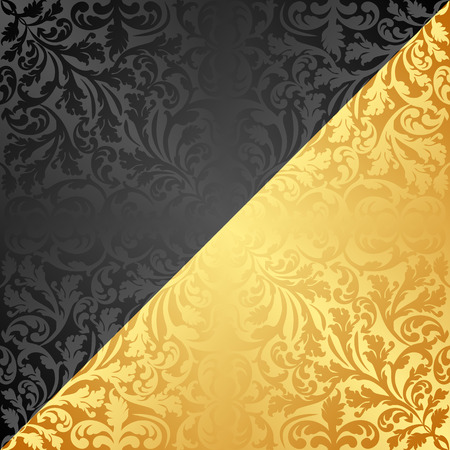 sloping: golden and black background with antique ornaments Illustration