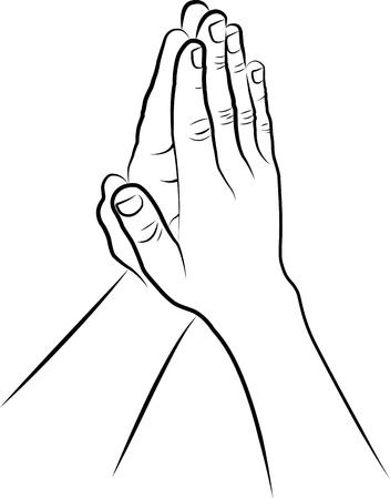 worshiping: clip art illustration of hands folded in prayer