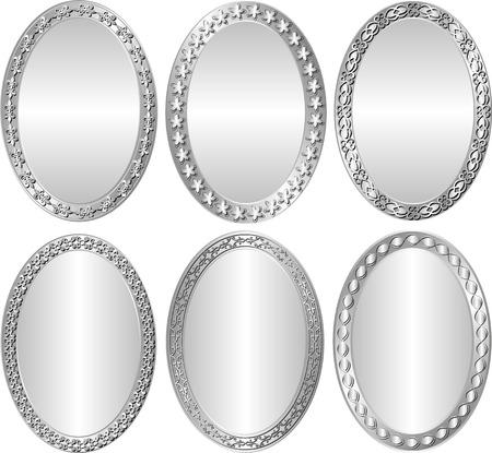 ovalo: conjunto de marcos de plata - elementos de diseño