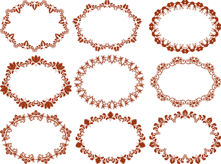 ovalo: colección de cuadros de flores
