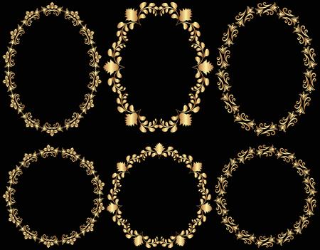 ovalo: colección de marcos de oro Vectores