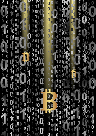 gold mining: bitcoin on digital background Illustration