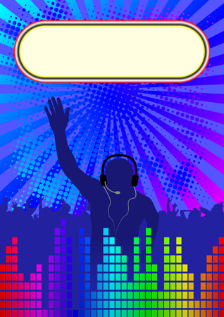 discotheque: discotheque background with banner and DJ Illustration