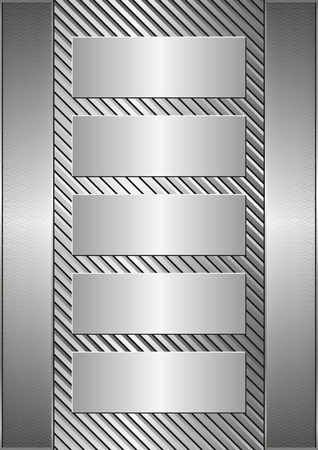 industry pattern: metallic background and five banners