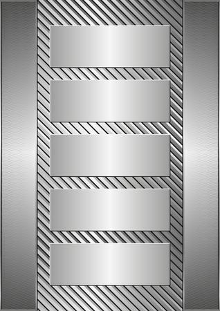 metallic banners: metallic background and five banners