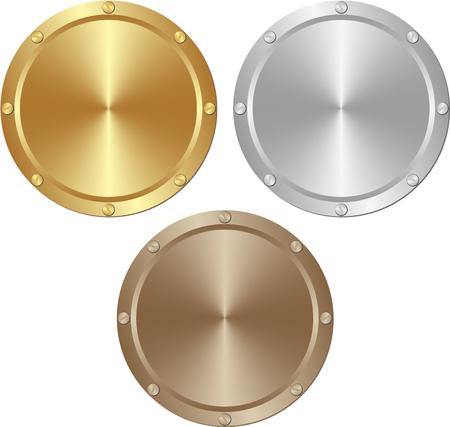 tornillos: oro, plata y placas marrones