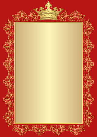 golden frame: antique background with golden royal frame