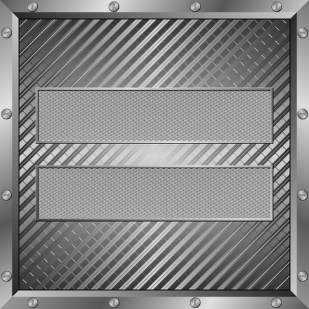metal frame: two textured plaques with metal frame