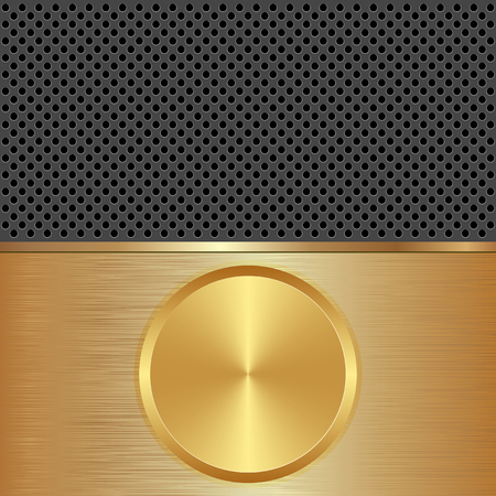 potentiometer: golden and black background with round banner