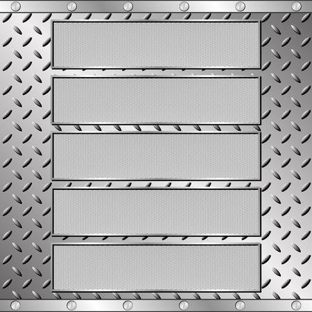 steel sheet: five textured plaques on steel sheet