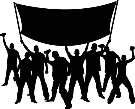 silhouettes of demonstrators with banner