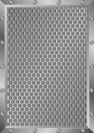 grillage: grille background with metal frame