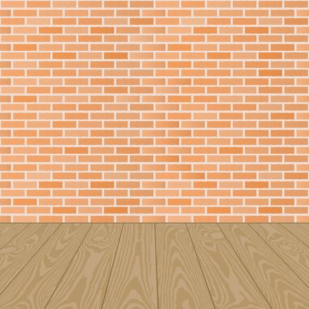 wooden floor: wooden floor and brick wall background