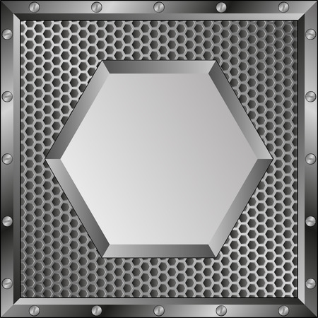 industry pattern: metal  background with hexagonal banner Illustration