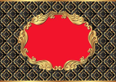 pattern antique: antique background with golden frame