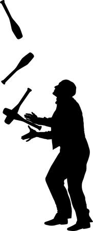 Jongleur Silhouette Vektorgrafik