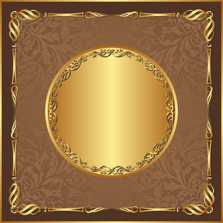 pattern antique: antique background with golden border Illustration