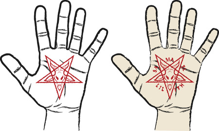 pentacle: hand with inverted pentagram - symbol of satanism