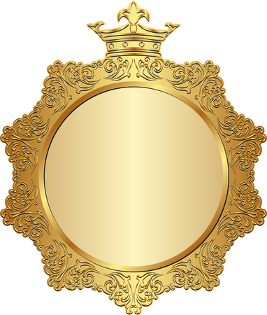 golden frame: isolated golden frame with crown