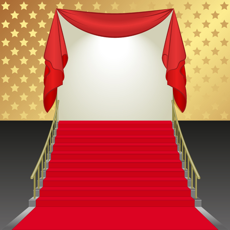 covered: background with stairs covered with red carpet
