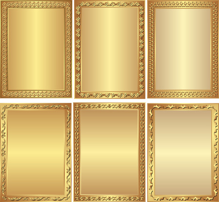 set of isolated golden frames
