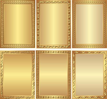 set of isolated golden frames