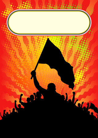 manifest: background with silhouette of people with banners