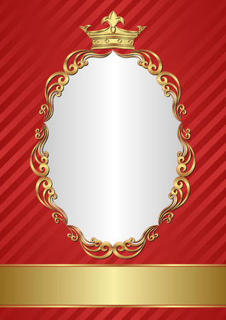 kingly: royal background with golden crown and frame Illustration
