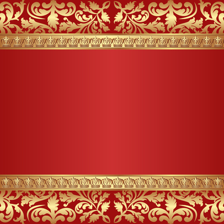 kingly: antique background with crowns border and ornaments