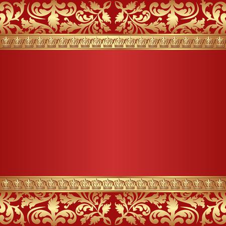 bordes decorativos: fondo antiguo con coronas y adornos frontera Vectores