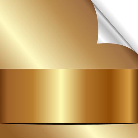 golden background with bent corner