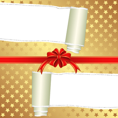 teared paper: wrapping paper ripped with ribbon bow