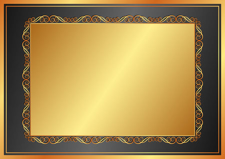 golden frame: golden background with vintage frame