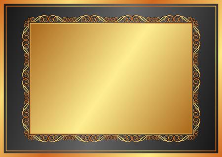 shone: golden background with vintage frame