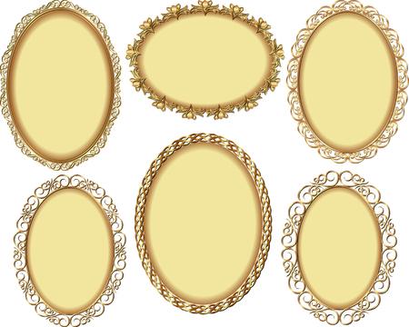 ovalo: conjunto de marcos de oro