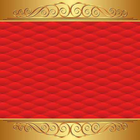 red gold: red background with vintage ornament