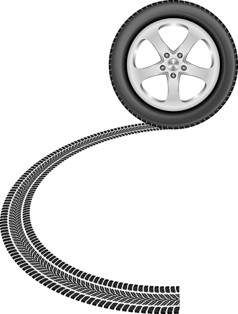tire track: isolated wheel and tire track Illustration